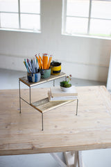 Two Tiered Recycled Wood and Metal Display Stand