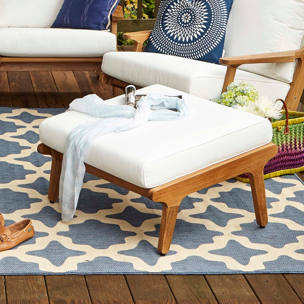 Saratoga Outdoor Patio Teak Ottoman - Natural White