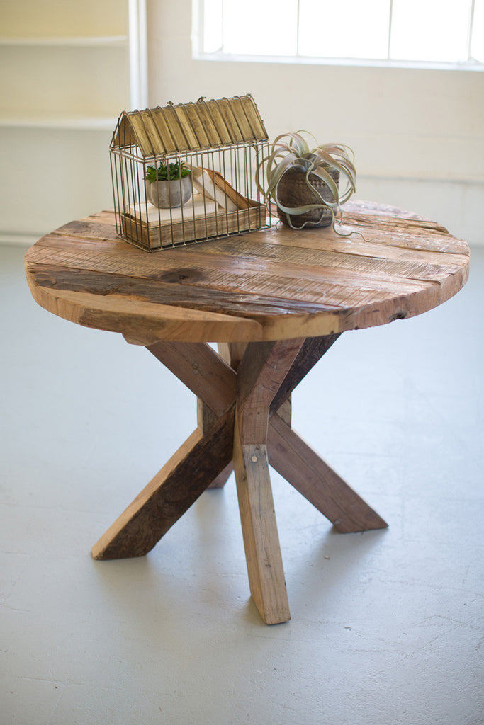 Round Recycled Wood Dining Table