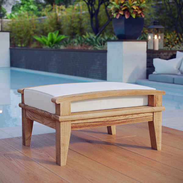 Marina Outdoor Patio Teak Ottoman - Natural White