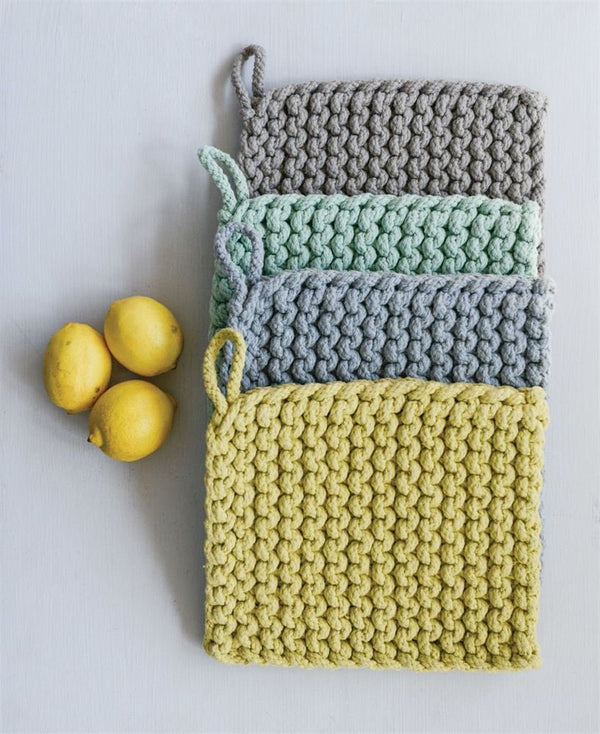 "8"" Square Cotton Crocheted Potholder, Set of 4 in 4 Colors"