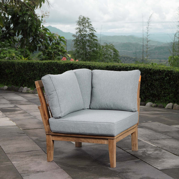 Marina Outdoor Patio Teak Corner Sofa - Natural Gray