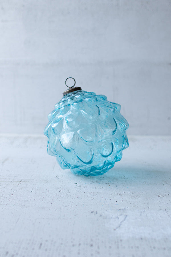Glass Christmas Ornament - Blue Leaves
