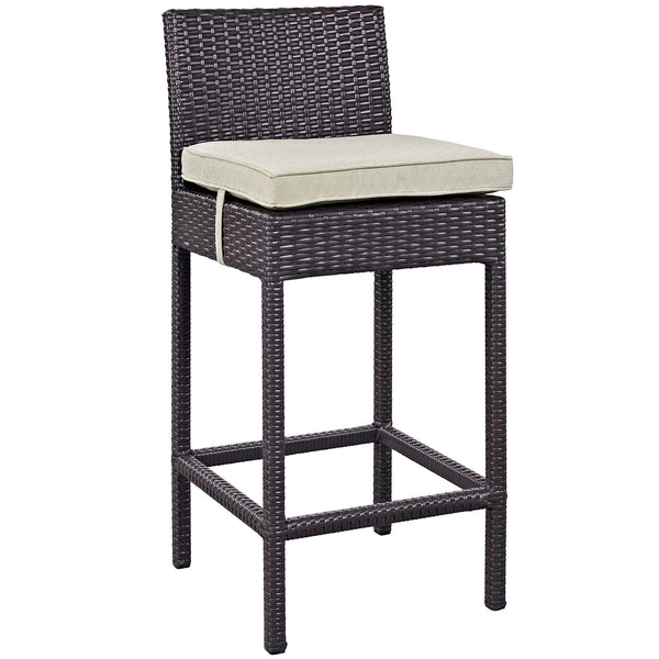 Lift Bar Stool Outdoor Patio Set of 2 - Espresso Beige