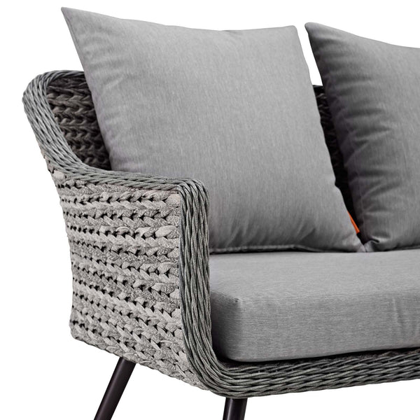 Endeavor Outdoor Patio Wicker Rattan Loveseat - Gray Gray