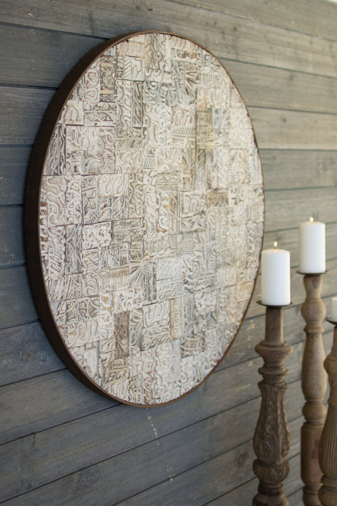 RECYCLED BLOCK PRINT ROUND WALL PANEL W RUSTIC IRON FRAME