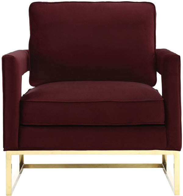 Avery Maroon Velvet Accent Chair