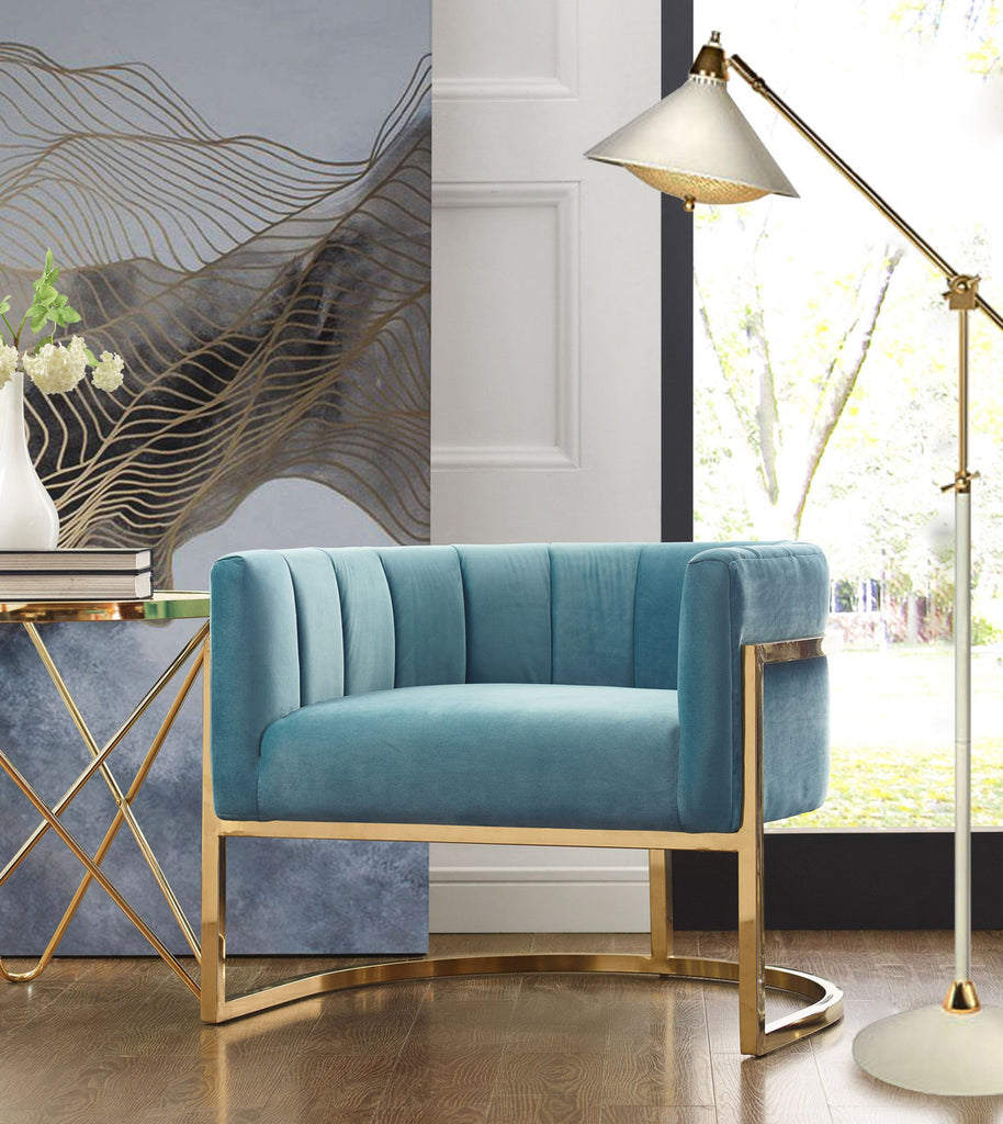 Magnolia Sea Blue Accent Chair with Gold Base