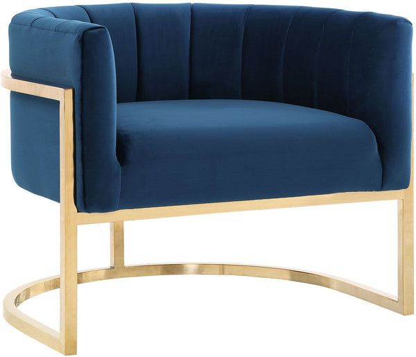 Magnolia Navy Accent Chair with Gold Base