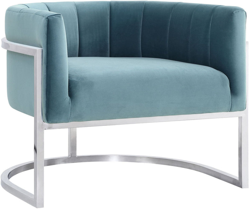 Magnolia Sea Blue Accent Chair with Silver Base