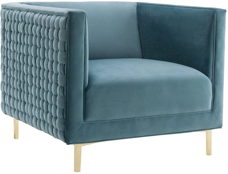 Sal Sea Blue Woven Accent Chair