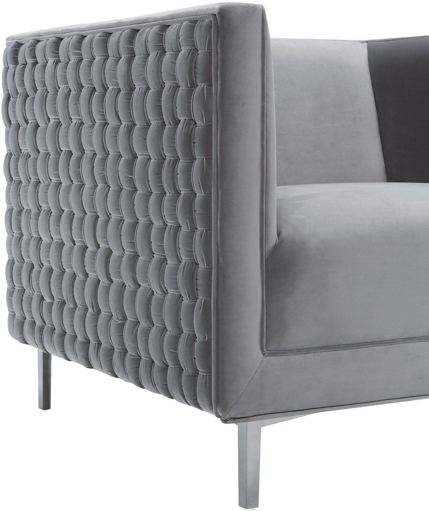Sal Grey Woven Accent Chair
