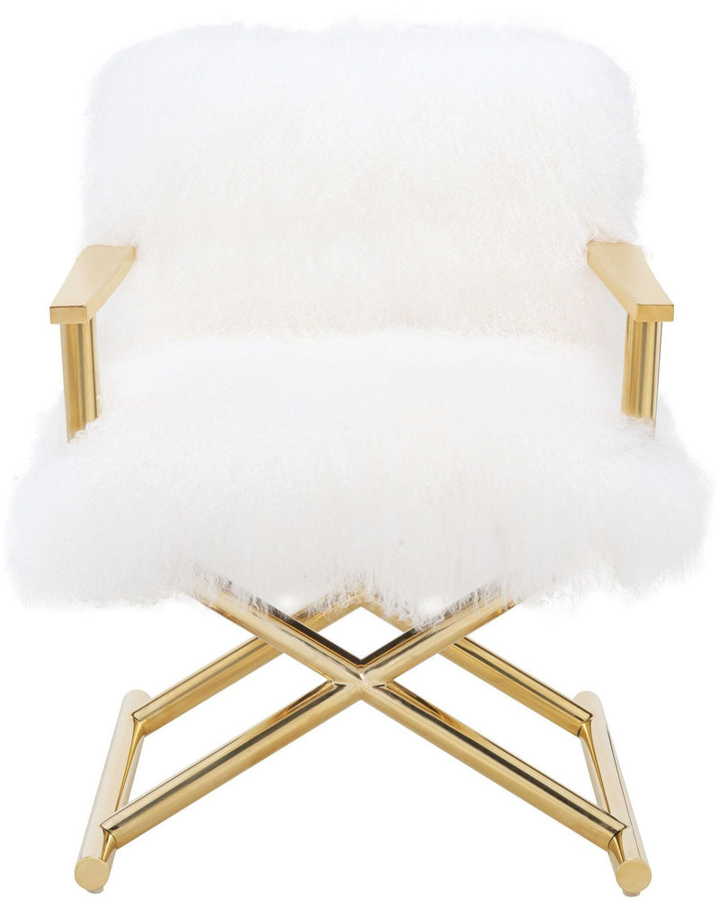 Jodi White Sheepskin Accent Chair