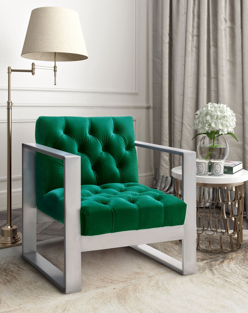 Oliver Green Velvet Accent Chair