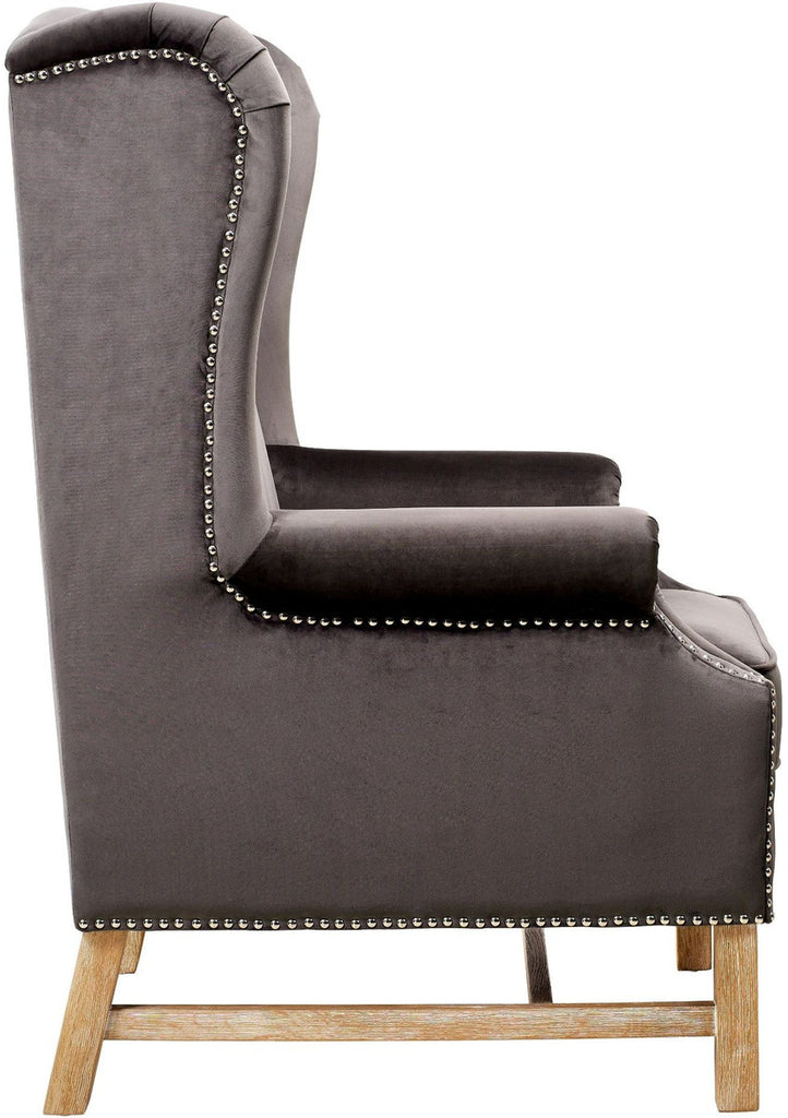 Nora Grey Velvet Accent Chair