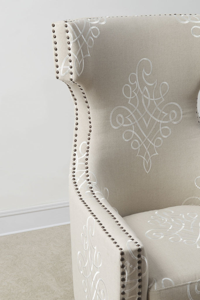 Gramercy Embroidered Linen Wing Accent Chair
