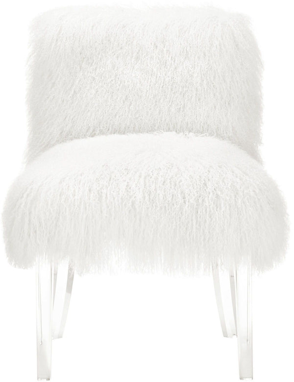 Sophie White Sheepskin Lucite Accent Chair