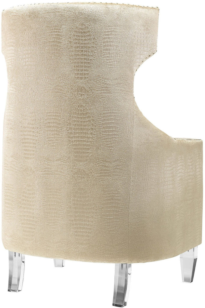 Gramercy Gold Croc Velvet Wing Accent Chair