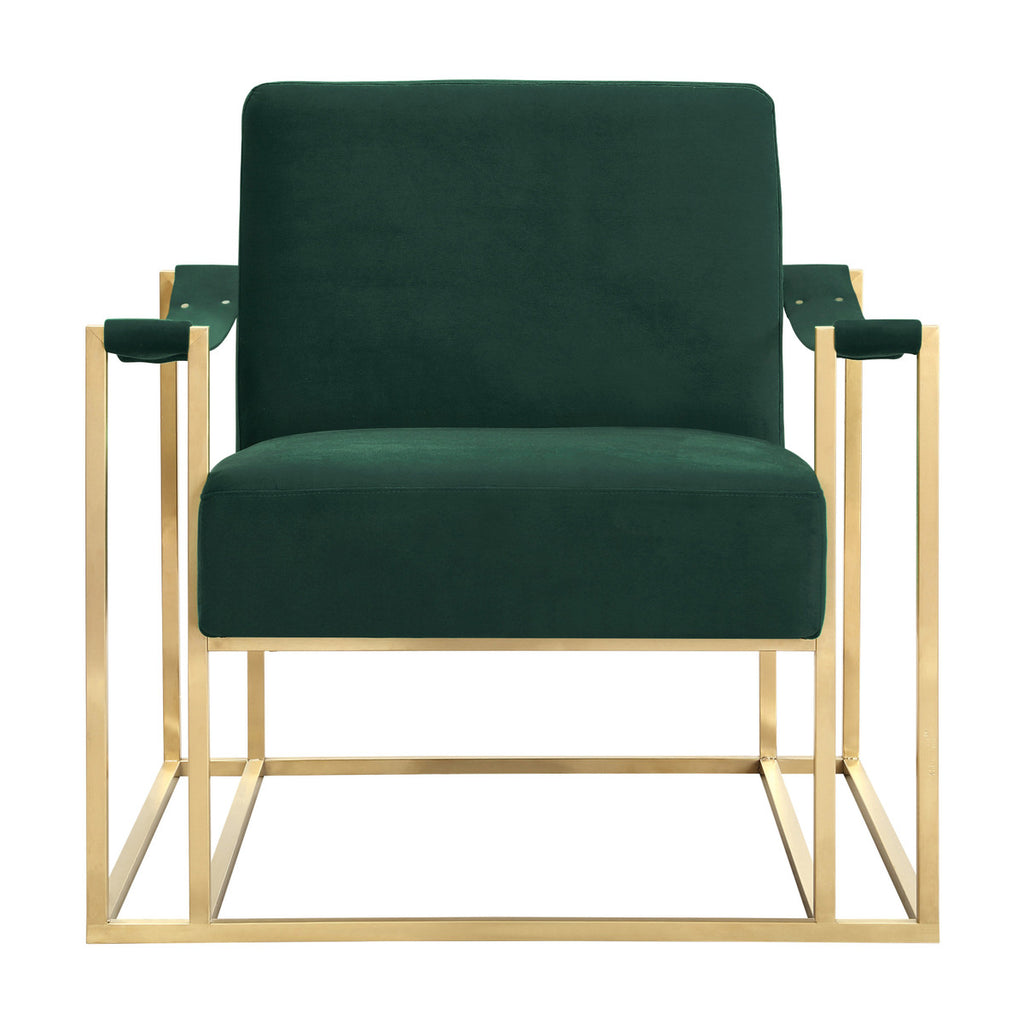 Baxter Forest Green Velvet Accent Chair