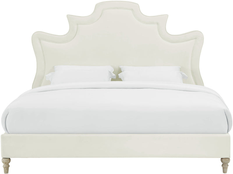 Serenity Cream Velvet Bed in Queen
