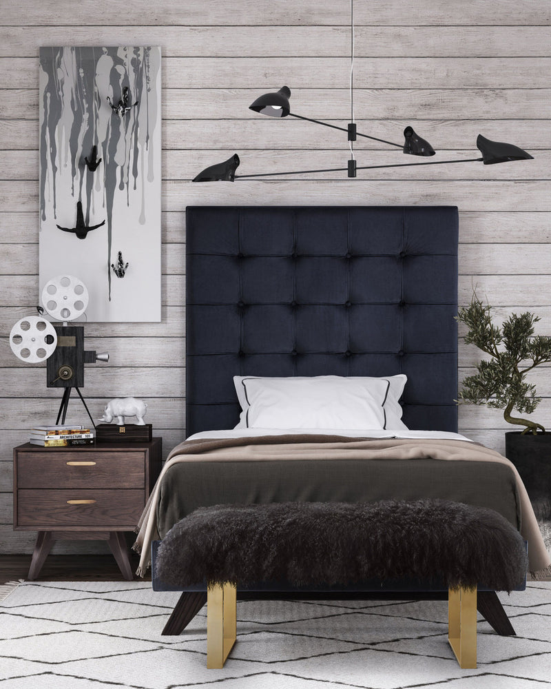 Eden Grey Velvet Bed in Twin