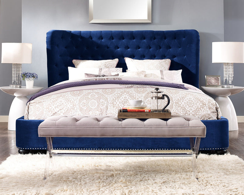 Finley Blue Velvet Bed in Queen