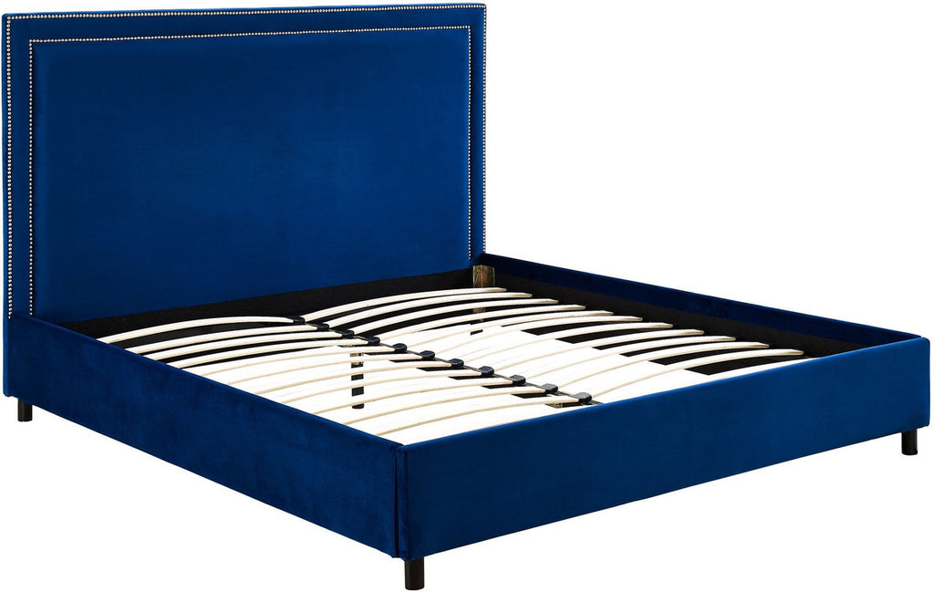 Reed Navy Velvet Bed in Queen