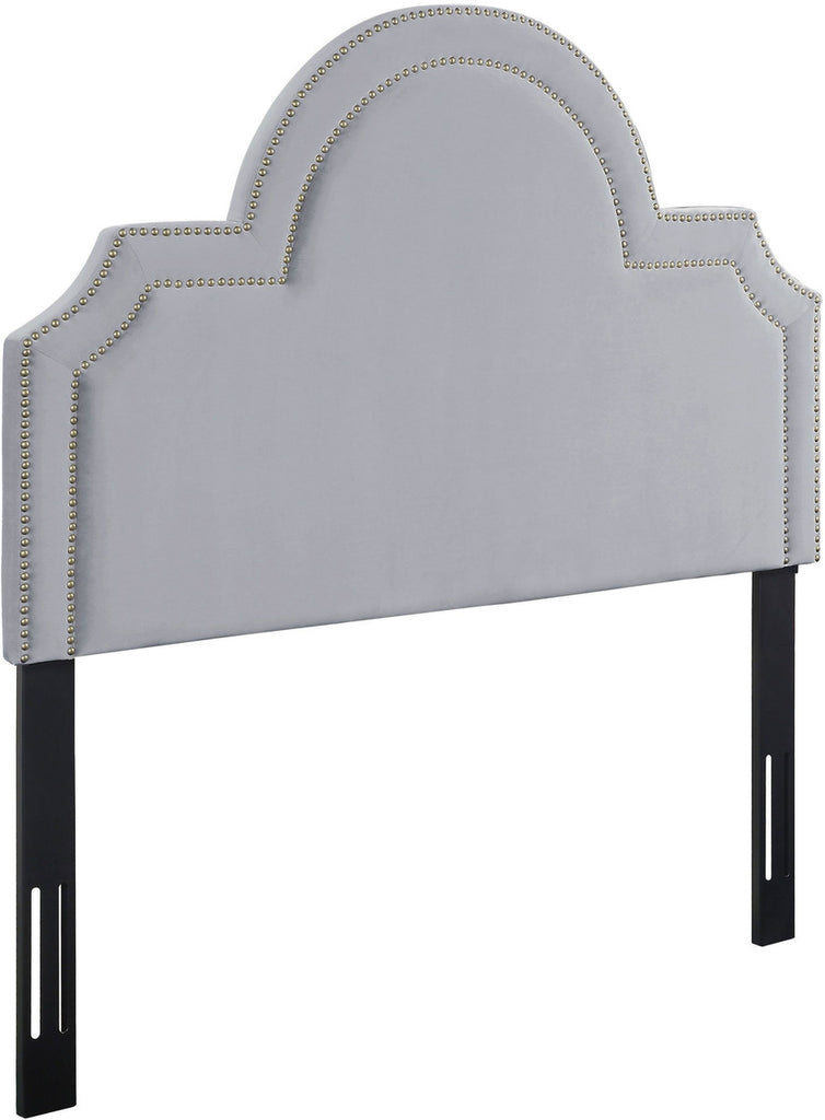 Laylah Twin Headboard in Grey Velvet