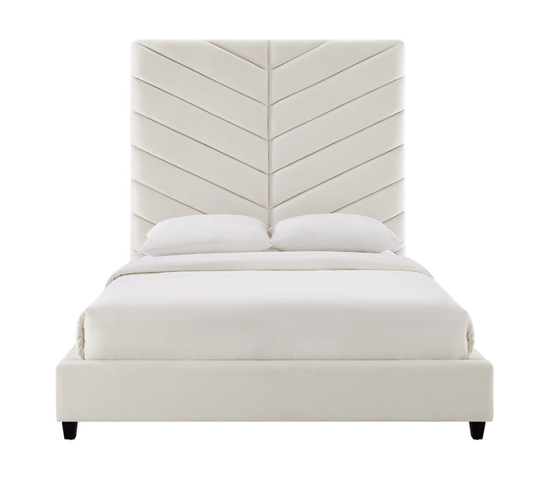 Javan Cream Velvet Bed in Queen