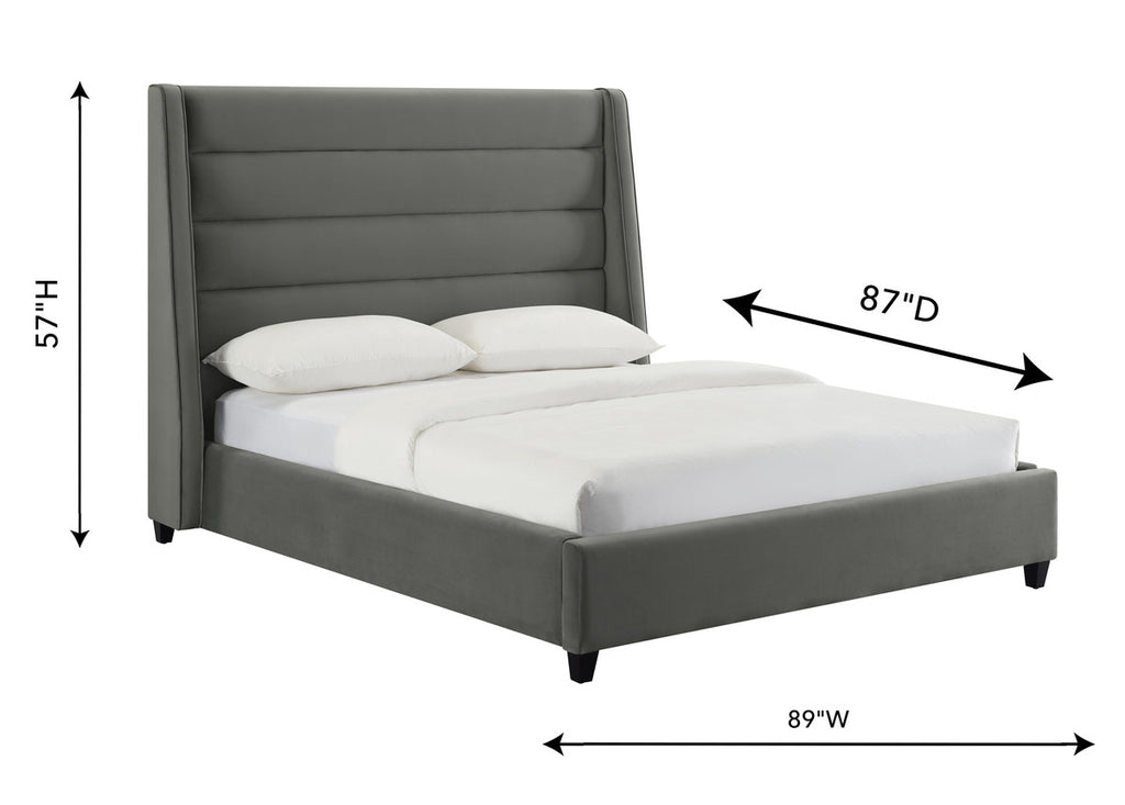 Koah Grey Velvet Bed in King