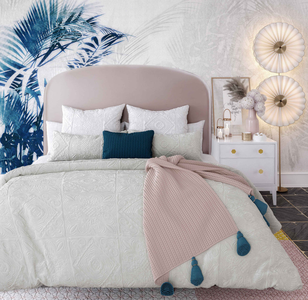 Vivi Blush Velvet Bed in King
