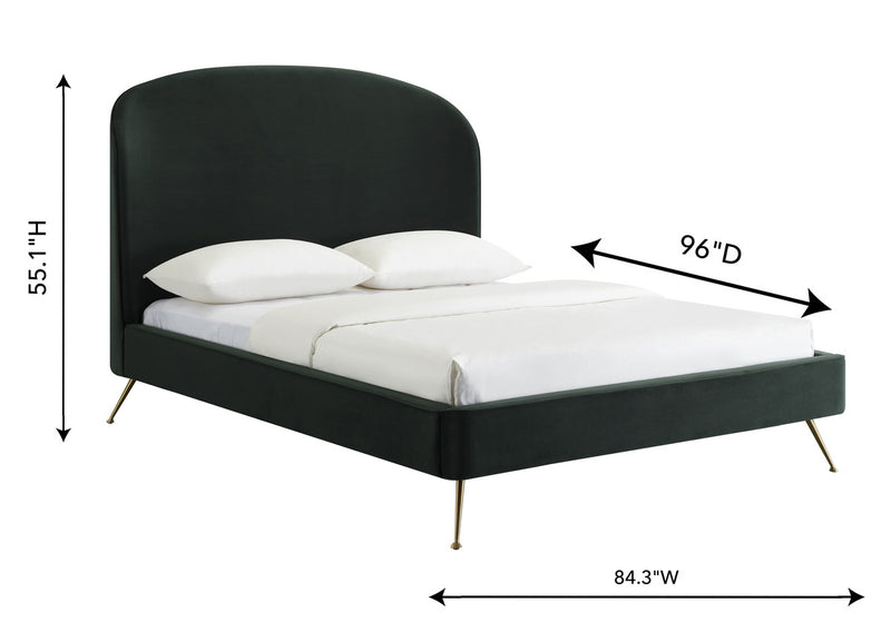 Vivi Forest Green Velvet Bed in King