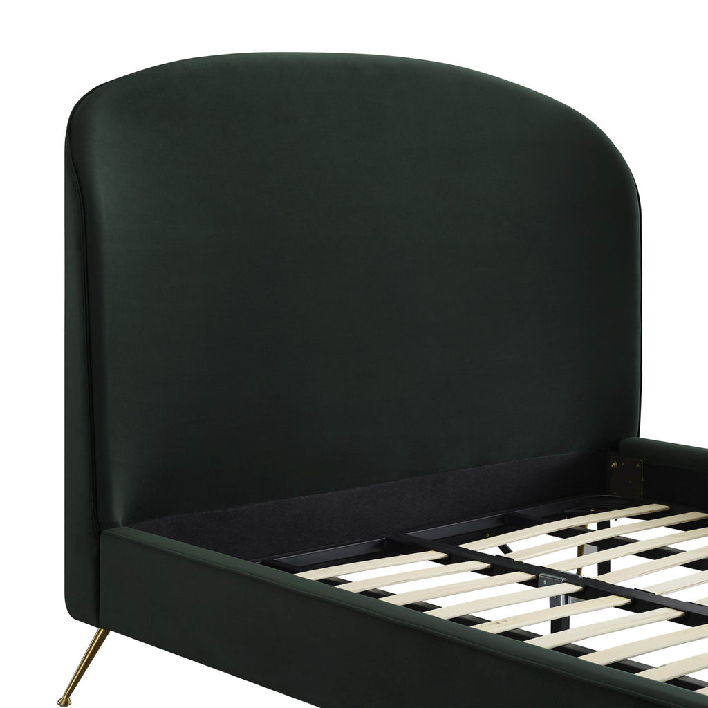 Vivi Forest Green Velvet Bed in Queen