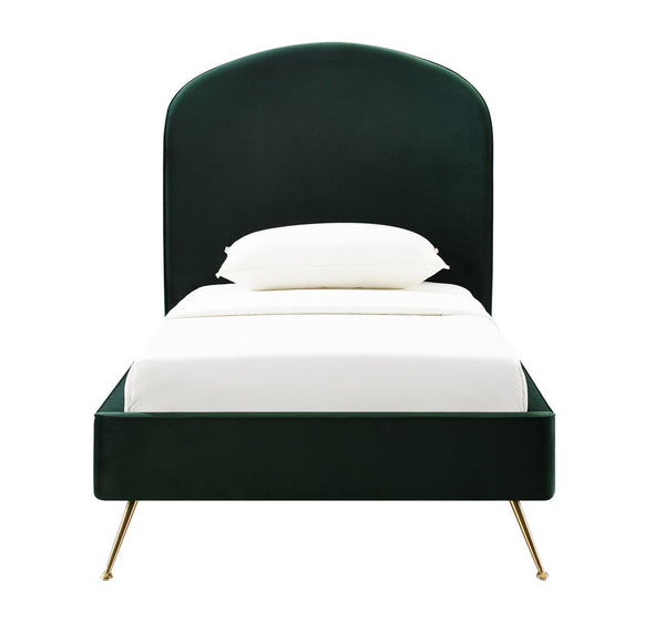 Vivi Forest Green Velvet Bed in Twin