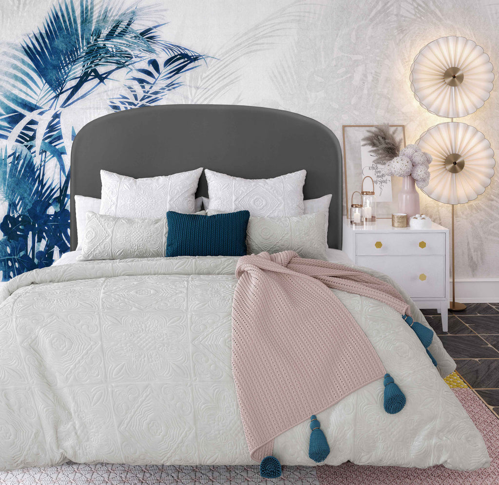 Vivi Grey Velvet Bed in King