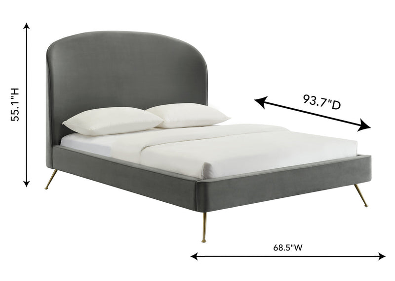 Vivi Grey Velvet Bed in Queen