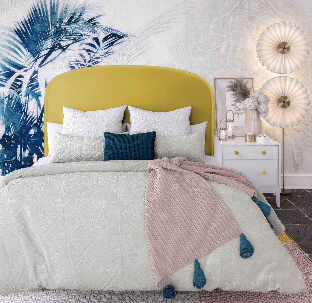 Vivi Burnt Gold Velvet Bed in Queen