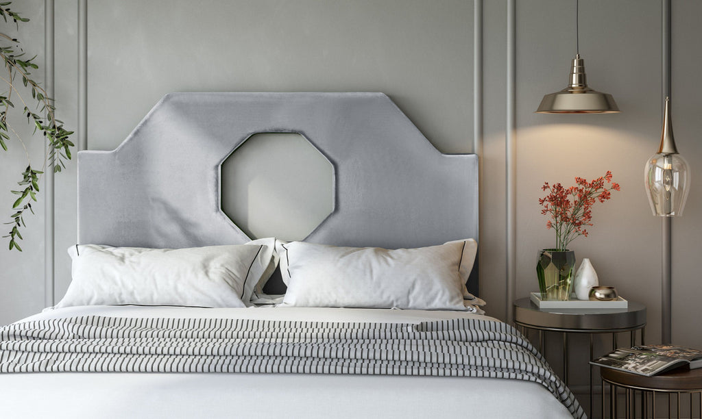 Noctis Queen Headboard in Grey Velvet