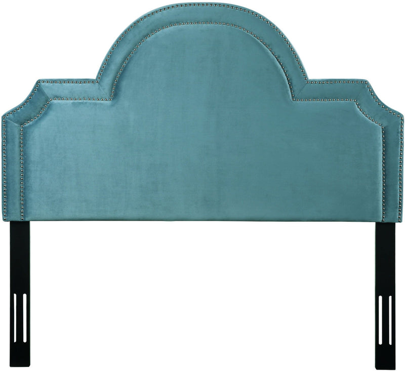 Laylah King Headboard in Sea Blue Velvet