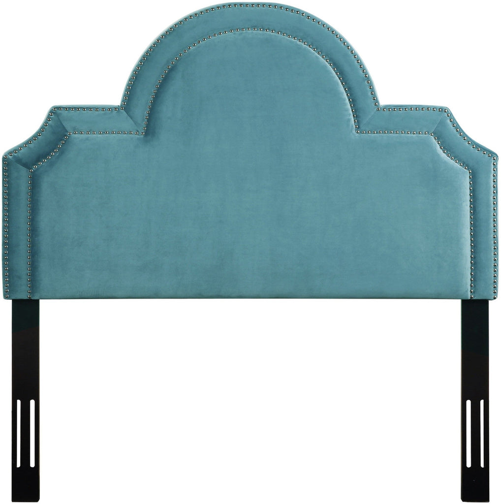 Laylah Twin Headboard in Sea Blue Velvet