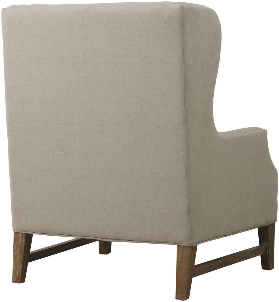 Devon Beige Linen Wing Accent Chair