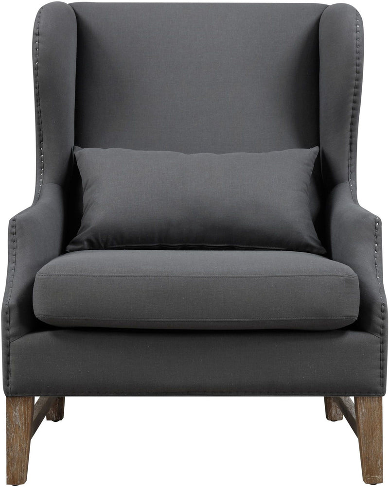 Devon Grey Linen Wing Accent Chair