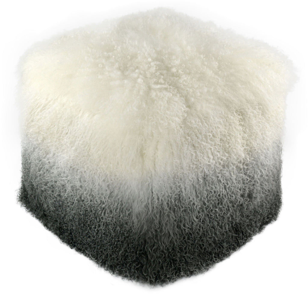 Tibetan Sheep White to Grey Pouf Ottoman