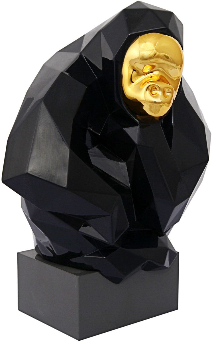 Pondering Ape Sculpture - Black and Gold
