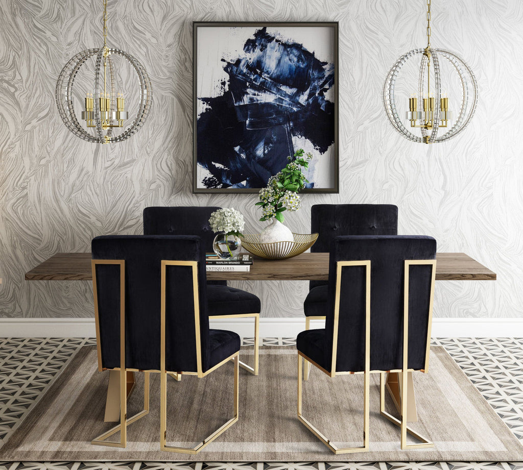 Akiko Black Velvet Dining Chair Set of 2