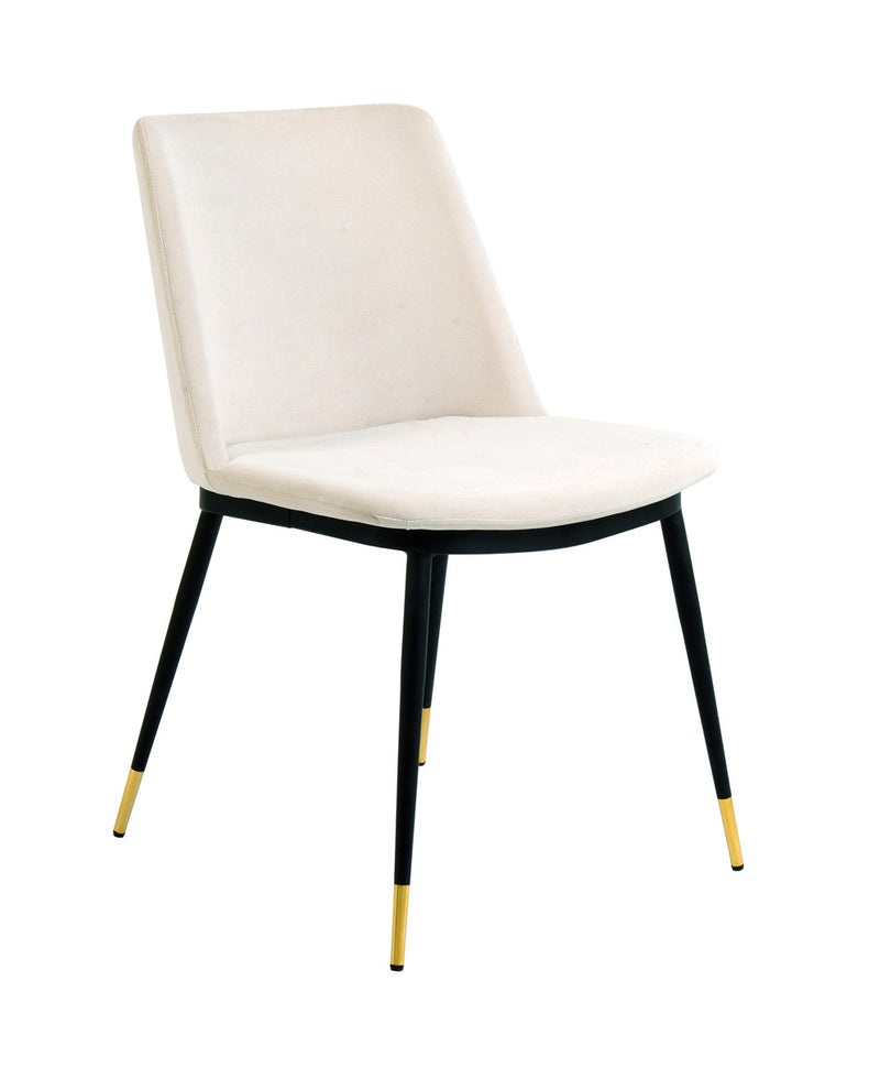 Evora Cream Velvet Dining Chair - Gold Legs (Set of 2)