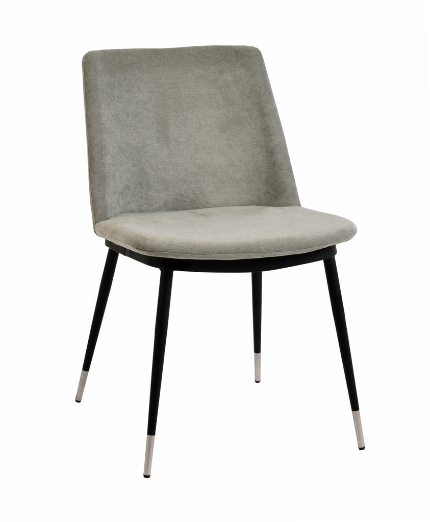 Evora Grey Velvet Dining Chair - Silver Legs (Set of 2)