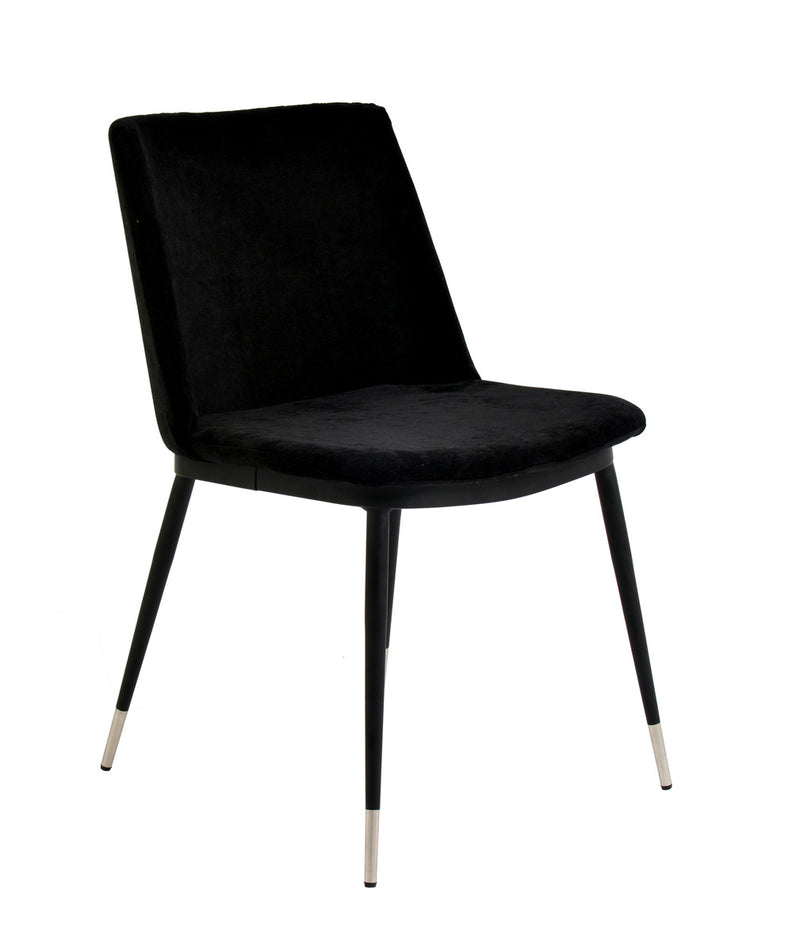 Evora Black Velvet Dining Chair - Silver Legs (Set of 2)