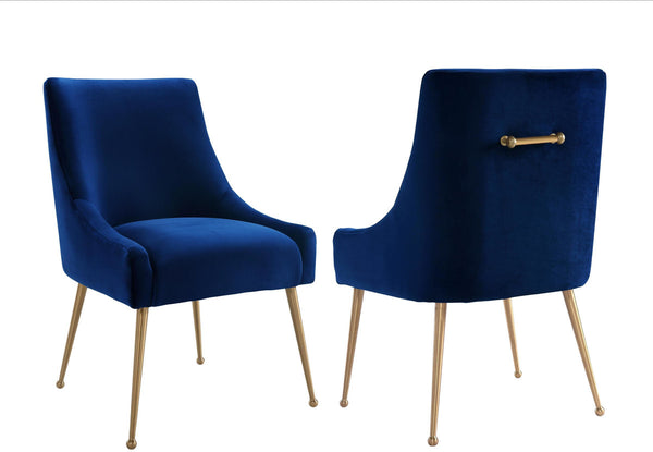Beatrix Navy Velvet Side Chair