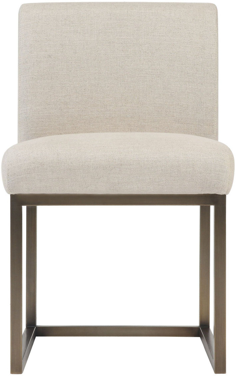Haute Beige Linen Accent Chair in Brass